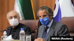 International Atomic Energy Agency Director General Rafael Grossi (R) speaks during a press conference with Iranian Atomic Energy Organization chief Ali-Akbar Salehi in Tehran, Iran August 25, 2020.