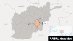 موقعیت ولایت غزنی در نقشه افغانستان