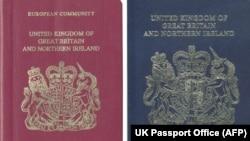 Ұлыбритания паспортының қазіргі (сол жақта) және Еуроодаққа кірмей тұрған кездегі үлгілері.