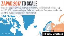 «Զապադ 2017» զորավարժություններին, արևմտյան փորձագետների ենթադրությամբ, կարող են մասնակցել մոտ 100 հազար զինծառայողներ: