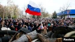 طرفداران روسيه در شهر اسلاويانسک