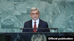 United Nations - Armenian President Serzh Sarkisian addresses a UN General Assembly session in New York, 23Sep2011.