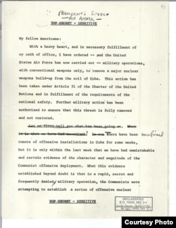 The first page of a speech President John F. Kennedy had prepared in the event of a U.S. attack on Soviet installations in Cuba