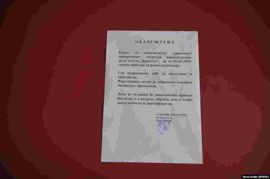 Obaveštenje o ukidanju recepcije hotela Bristol.