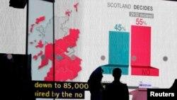 Екран відображає результати національного шотландського референдуму, Единбург, Шотландія, 19 вересня 2014 року