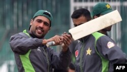 Pakistani cricketer Mohammad Amir takes part in a team practice session in Lahore on January 6.