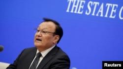 Шохрат Закир, губернатор китайской провинции Синьцзян, заместитель секретаря парткома в этом регионе, на пресс-конференции. Пекин, 9 декабря 2019 года.