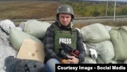 Ukraine--RFE/RL Ukrainian Service Correspondent Levko Stek near Debalcevo, eastern Ukraine. September, 2014.