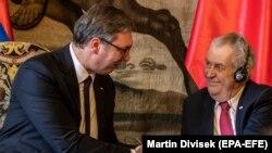 Serbiya və Çexiya prezidentləri Aleksandar Vuciç və Miloş Zeman
