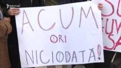 Protest față de moțiunea de cenzură a PSRM