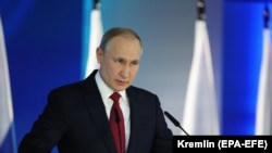 Russian President Vladimir Putin delivers his annual state-of-the-nation address to the Federal Assembly in Moscow on January 15.