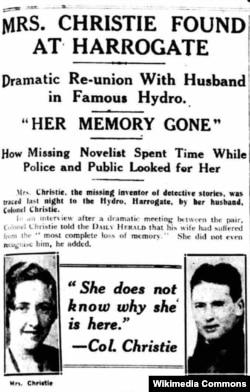 Aqata Kristinin itdikdən sonra tapılması haqda qəzet məqaləsi, 1926