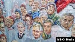 Одна з фотографій, що просочилися в пресу, показує роботу над мозаїкою, яка має прикрасити собор Збройних сил Росії, й на котрій зображено Путіна, Шойгу та інших російських політиків