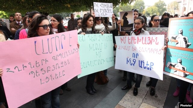 Armenia - Young women protest against government plans to cut maternity benefits, Yerevan, 23Oct2014.