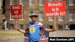 Брекситке каршы ураандарды көтөргөн Британиянын жараны. Лондон. 9-июль, 2018-жыл.