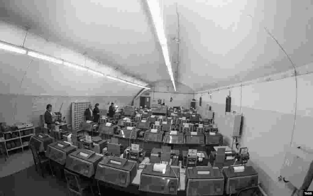 TASS built an underground operations room so the agency could function in the event of an emergency. It was situated 50 meters underground and is pictured here in 1959.