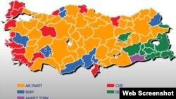 Թուրքիայի քրատեզը, որի վրա պատկերված են 2014 թվականի նախագահական ընտրությունների արդյունքները, արխիվ