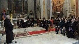 Italy - Armenian President Serzh Sarkisian visits the Armenian Catholic church of St. Nicholas in Rome, 12Dec2011.