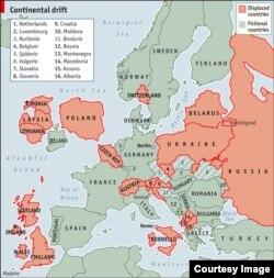 «Правільная» мапа Эўропы па вэрсіі часопіса Economist