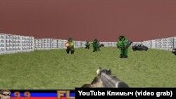 Игра-стрелялка, в которой мишенями являются персонажи с желто-синими повязками