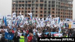 A few thousand protesters attended the Baku demonstration.