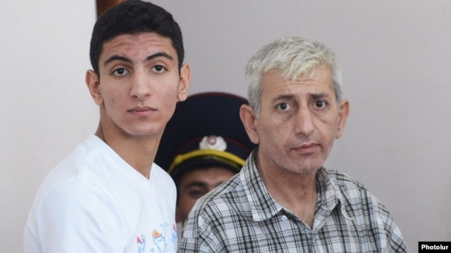 Armenia - Activist Shant Harutiunian and his 15-year-old son Shahen stand trial on what they consider politically motivated charges, Yerevan, 8Sep2014.