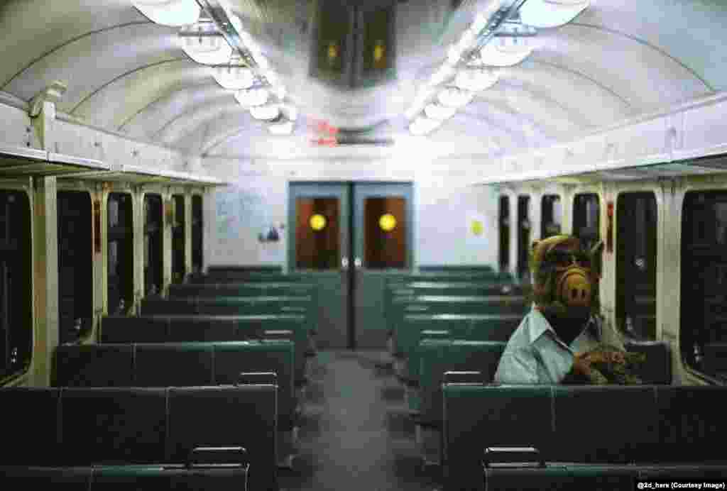 Alf, the eponymous star of the American science fiction sitcom, riding a Russian night train.