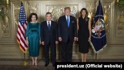 Президент Узбекистана Шавкат Мирзияев и его супруга встречались с президентом США Дональдом Трампом и его супругой в сентябре 2017 года во время визита в Нью-Йорк для участия на сессии Генеральной Ассамблеи ООН.