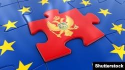 Zastava Crne Gore kao dio slagalice zastave Evropske unije, ilustracija