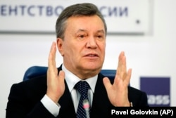 Former Ukrainian President Viktor Yanukovych at a press conference in Moscow on March 2, 2018.