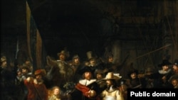 Инсталляция Гринуэя Nightwatching представляет собой световую проекцию на полотно Рембрандта «Ночной дозор»