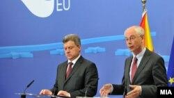 Средба на претседателот Ѓорге Иванов и Херман Ван Ромпуј, претседател на Советот на ЕУ во Брисел.