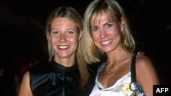 Former Miss Russia Anna Malova (right) with actress Gwyneth Paltrow in New York in 2001, three years after Malova won her crown