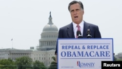 "U.S. Republican Presidential candidate Mitt Romney: ""I will act to repeal Obamacare."""