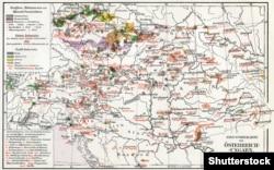Індустріальна мапа Австро-Угорської монархії, 1910 рік. (Щоб відкрити мапу у більшому форматі, натисніть на зображення. Відкриється у новому вікні)