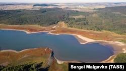 Обміліле Сімферопольське водосховище, серпень 2020 року