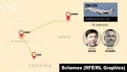 14 лютого «Схеми» зафіксували, як з аеропорту Київ вилетів борт і попрямував до Мінська: на його борту перебували нардепи Тарас Козак і Ренат Кузьмін