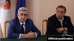 Armenia - President Serzh Sarkisian meets with representatives of the ruling Republican Party's youth organization, Tsakhkadzor,31May,2014