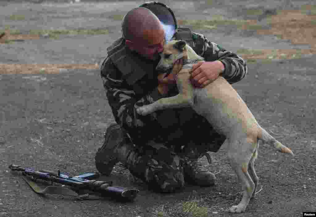 A Ukrainian serviceman hugs a dog at a checkpoint near the eastern Ukrainian town of Gorlovka in October 2014.