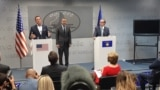 Kosovo: Richard Grenell, Adam Boehler and Avdullah Hoti during a press conference in Prishtina.