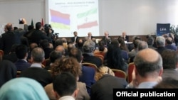 Armenia - The Armenian and Iranian foreign ministers open an Armenian-Iranian business forum in Yerevan, 28Nov2017.
