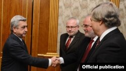 Armenia - President Serzh Sarkisian meets with the co-chairs of the OSCE Minsk Group in Yerevan, 16Dec2013.