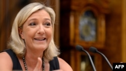 National Front leader Marine Le Pen during a visit to Moscow in June 2013