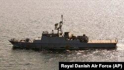 تصویر ناوچه سهند در دریای بالتیک، ثبت شده توسط نیروی هوایی سلطنتی دانمارک