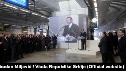 """Aleksandar VUčić tokom otvaranja železničke stanice """"Prokop"""""""
