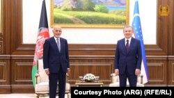 محمد اشرف غنی رئیس جمهور افغانستان و شوکت میرضیاییف رئیس جمهور ازبیکستان