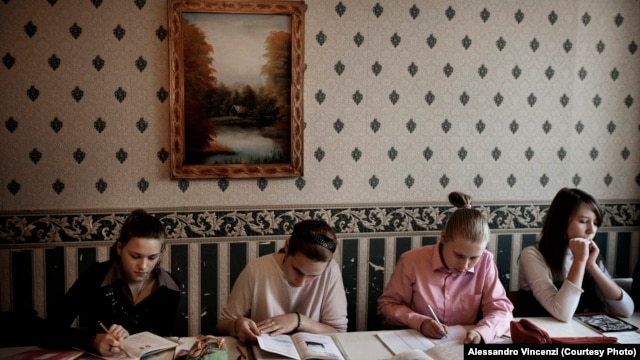 Belarus -- Students at the Belarusian Humanities Lyceum in Minsk have studied in secret since the school, which holds instruction in the Belarusian language, was closed in 2003.