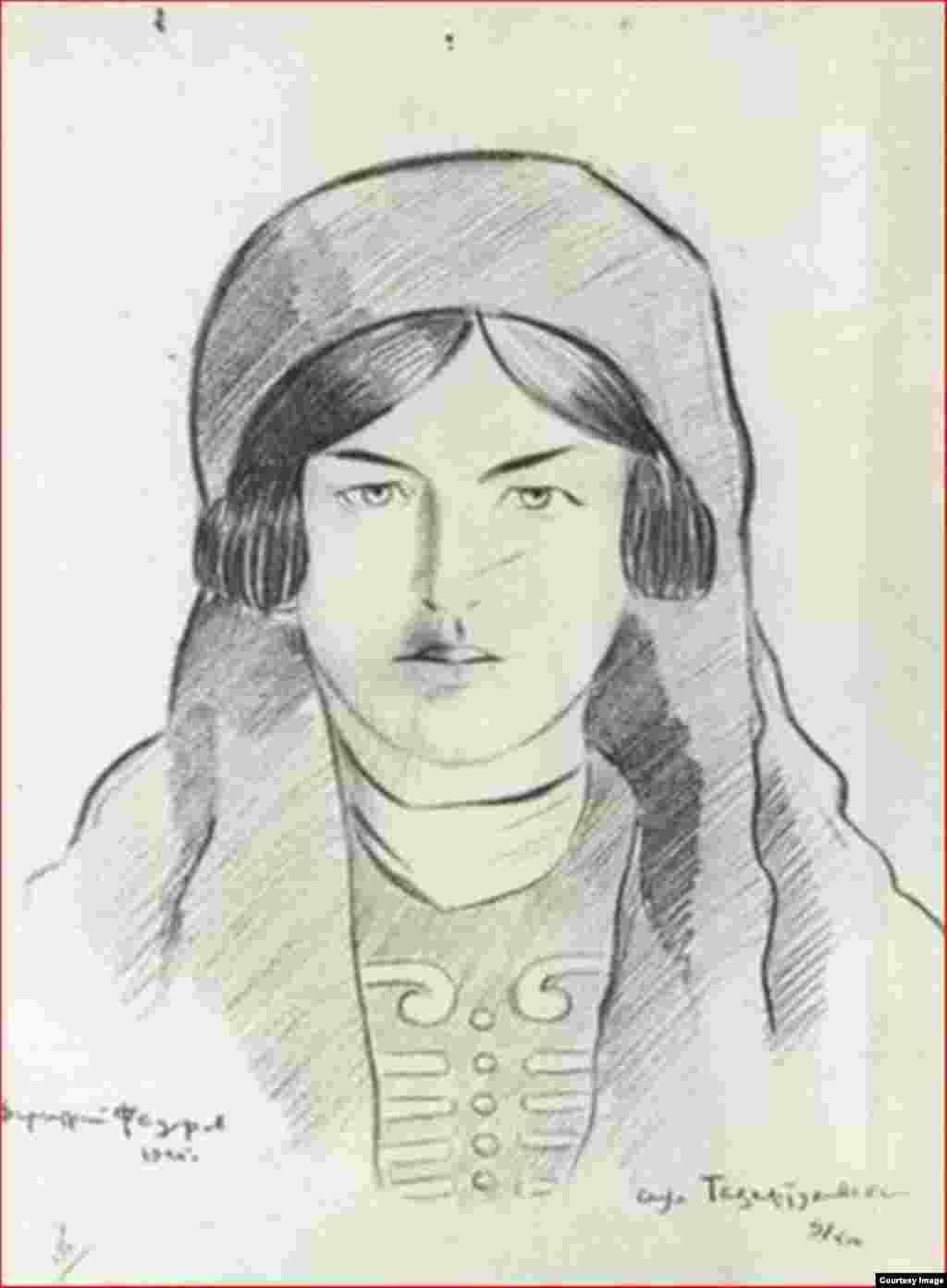Федоров Д.С. Черкешенка. Аул Тазартуковский. Черкесия. 1925 г.