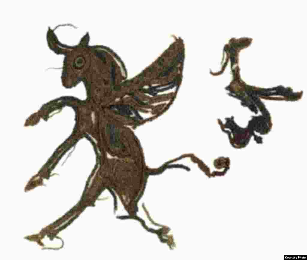 Embroidery of a winged bull from saddle cloth, (late 4th–early 3rd century B.C.) (A. Kh. Margulan Institute of Archaeology, Almaty)
