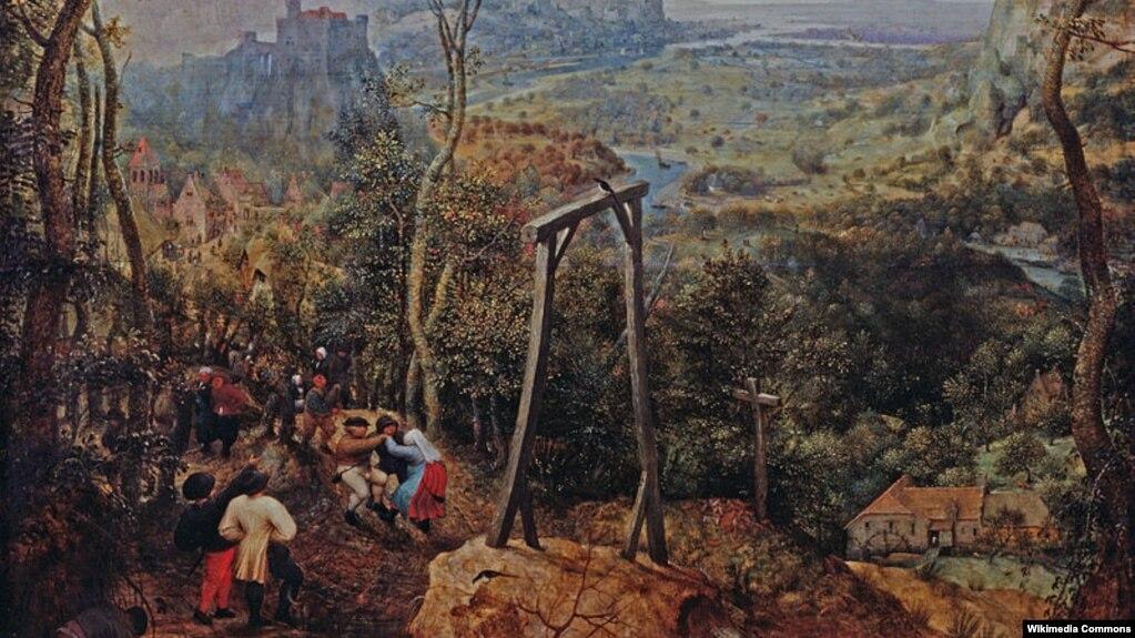 Пітэр Брэйгель Старэйшы, «Сарока на шыбеніцы», 1568 (фрагмэнт)